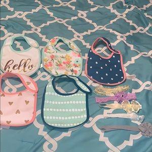 Baby girl bibs and hats bundle